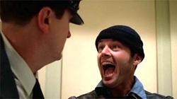 Jack Nicholson in una scena di Qualcuno volò sul nido del cuculo