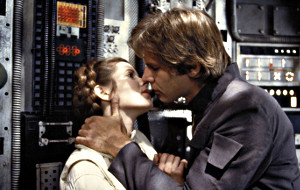 Carrie Fisher ed Harrison Ford in Guerre Stellari - L'Impero colpisce ancora