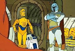 Boba Fett con Chewbecca, D-3BO e C1-P8 nel segmento animato