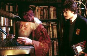 Richard Harris e Daniel Radcliffe in Harry Potter e la Camera dei Segreti