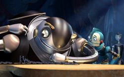 Bigweld e Rodney con Cappy sullo sfondo in una scena di Robots