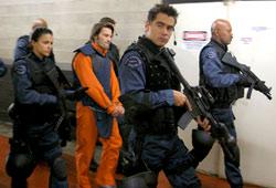 Michelle Rodriguez, Olivier Martinez, Colin Farrell e Samuel L.Jackson in SWAT