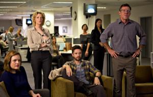 Elisabeth Moss, Cate Blanchett, Topher Grace e Dennis Quaid in una scena di Truth - Il prezzo della verità