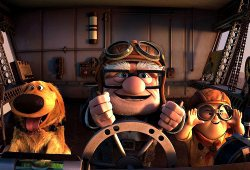 Carl Fredricksen e Russell in una scena di Up
